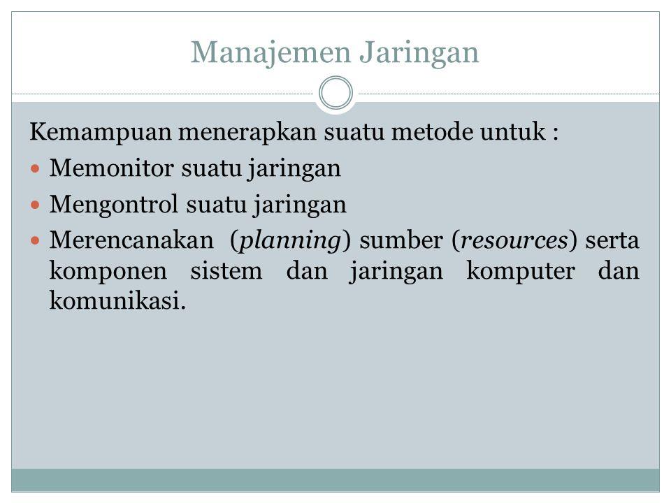 Manajemen Jaringan Kemampuan menerapkan suatu metode untuk :