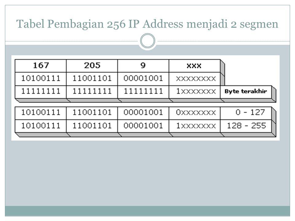 Tabel Pembagian 256 IP Address menjadi 2 segmen