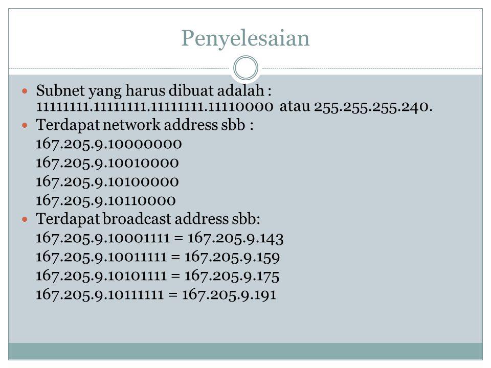 Penyelesaian Subnet yang harus dibuat adalah : 11111111.11111111.11111111.11110000 atau 255.255.255.240.