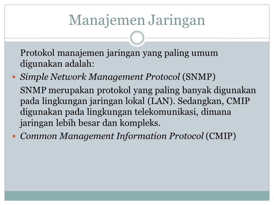 Manajemen Jaringan Protokol manajemen jaringan yang paling umum digunakan adalah: Simple Network Management Protocol (SNMP)