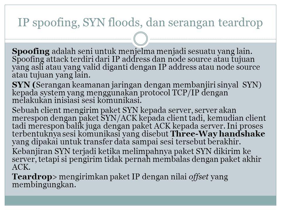 IP spoofing, SYN floods, dan serangan teardrop