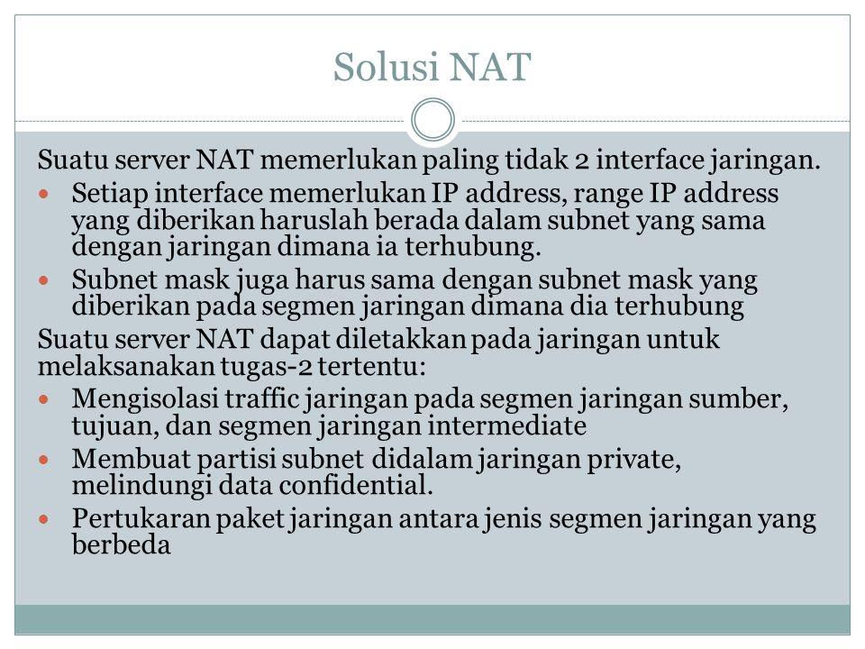 Solusi NAT Suatu server NAT memerlukan paling tidak 2 interface jaringan.