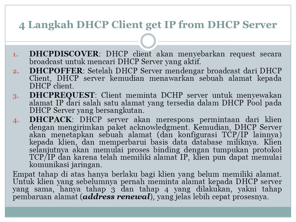 4 Langkah DHCP Client get IP from DHCP Server
