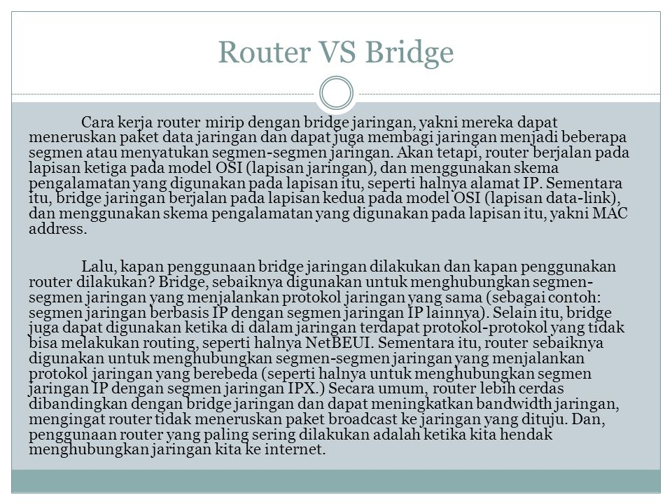 Router VS Bridge