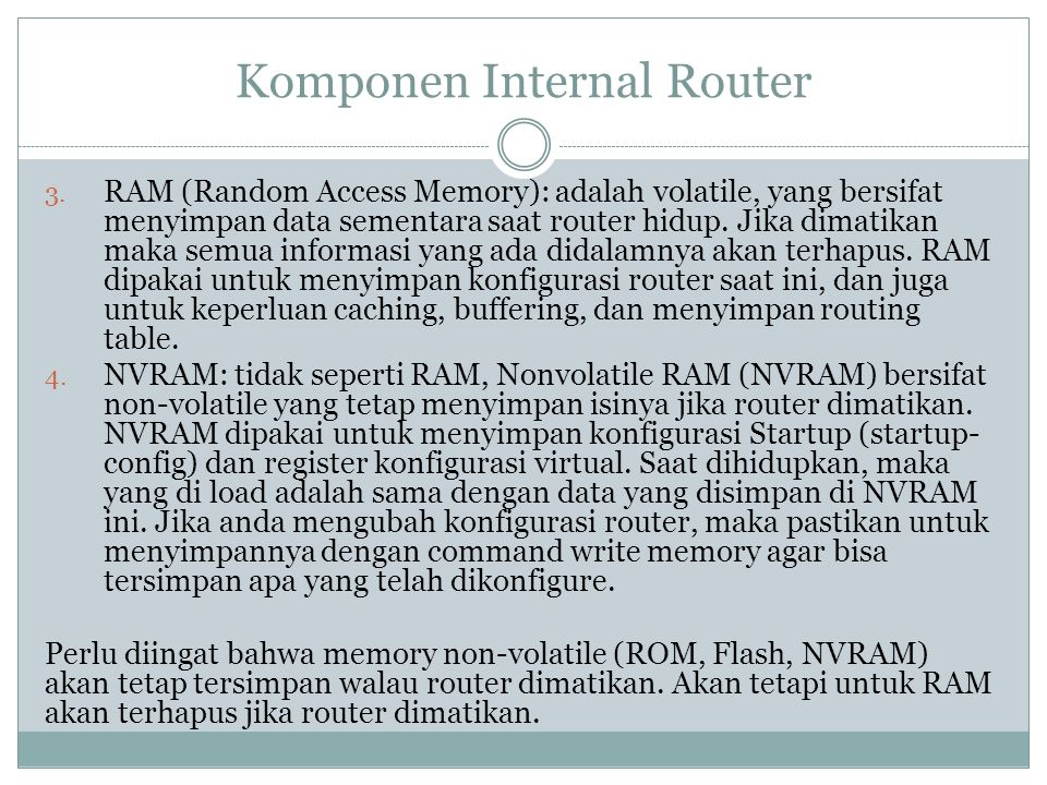 Komponen Internal Router
