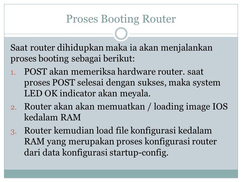 Proses Booting Router Saat router dihidupkan maka ia akan menjalankan proses booting sebagai berikut: