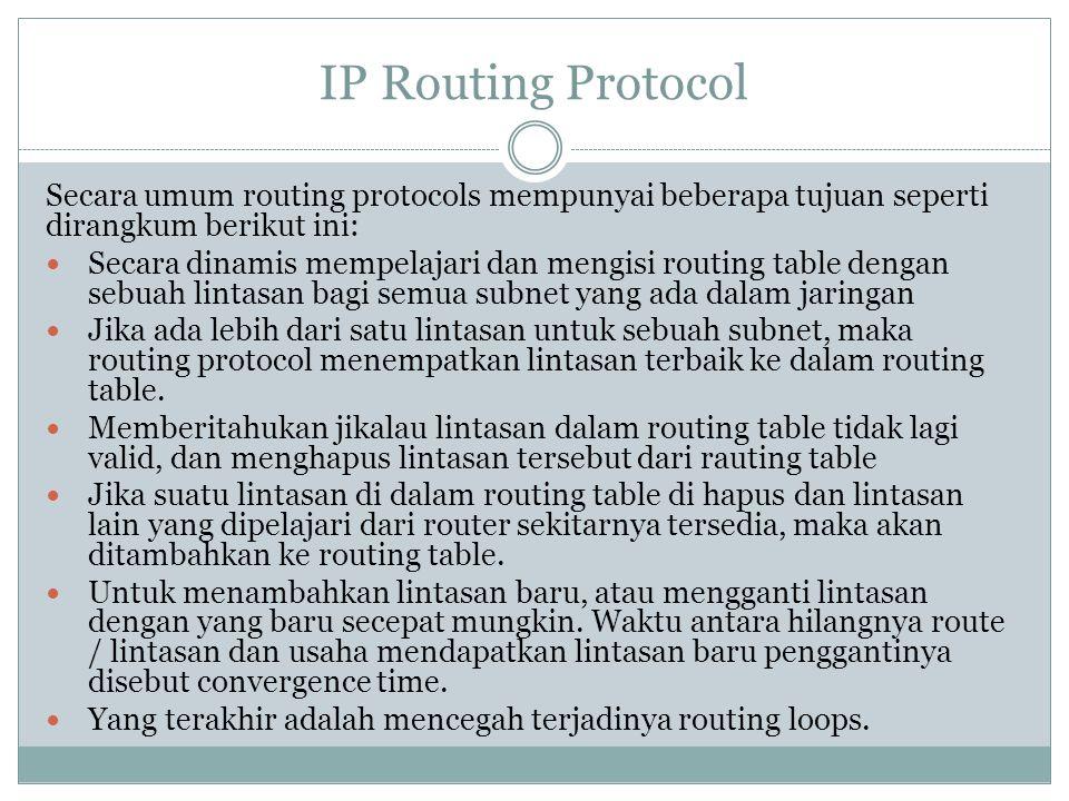 IP Routing Protocol Secara umum routing protocols mempunyai beberapa tujuan seperti dirangkum berikut ini: