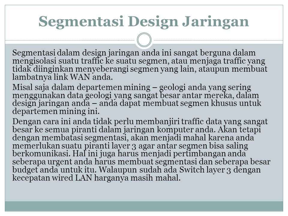 Segmentasi Design Jaringan