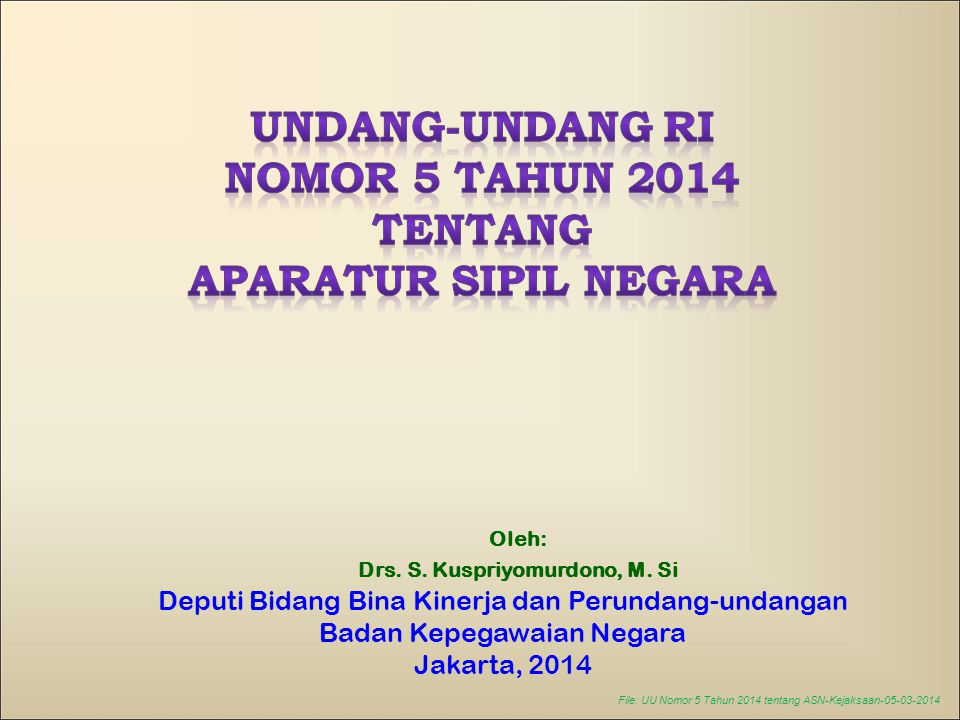 TENTANG APARATUR SIPIL NEGARA Drs. S. Kuspriyomurdono, M. Si