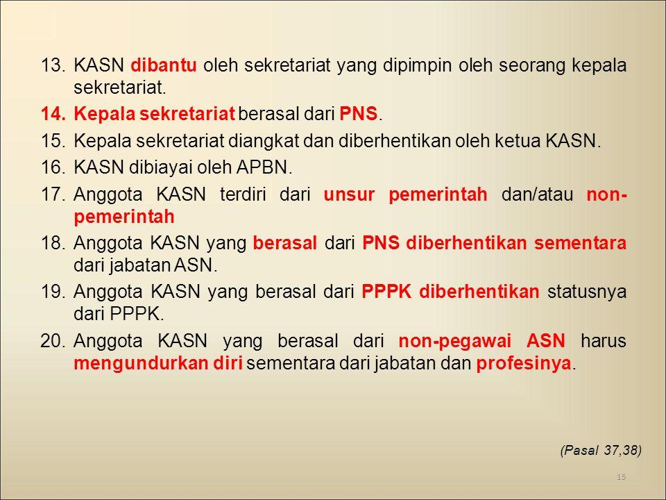 Kepala sekretariat berasal dari PNS.