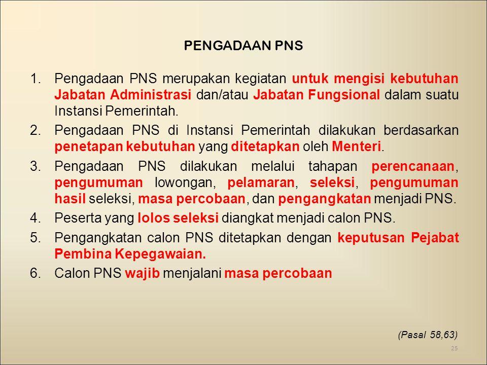 Peserta yang lolos seleksi diangkat menjadi calon PNS.