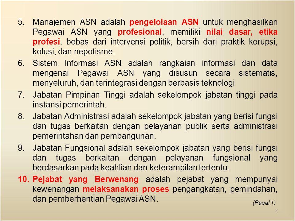 Manajemen ASN adalah pengelolaan ASN untuk menghasilkan Pegawai ASN yang profesional, memiliki nilai dasar, etika profesi, bebas dari intervensi politik, bersih dari praktik korupsi, kolusi, dan nepotisme.
