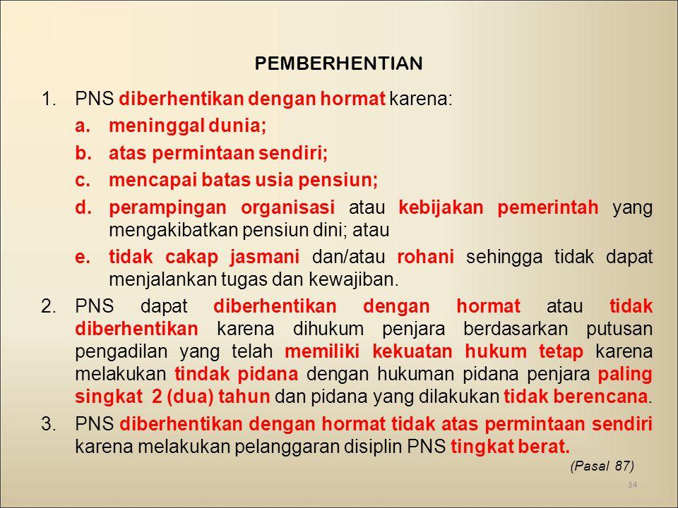 PNS diberhentikan dengan hormat karena: meninggal dunia;