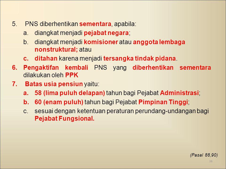 PNS diberhentikan sementara, apabila: diangkat menjadi pejabat negara;