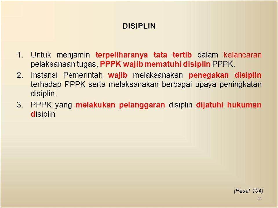 PPPK yang melakukan pelanggaran disiplin dijatuhi hukuman disiplin