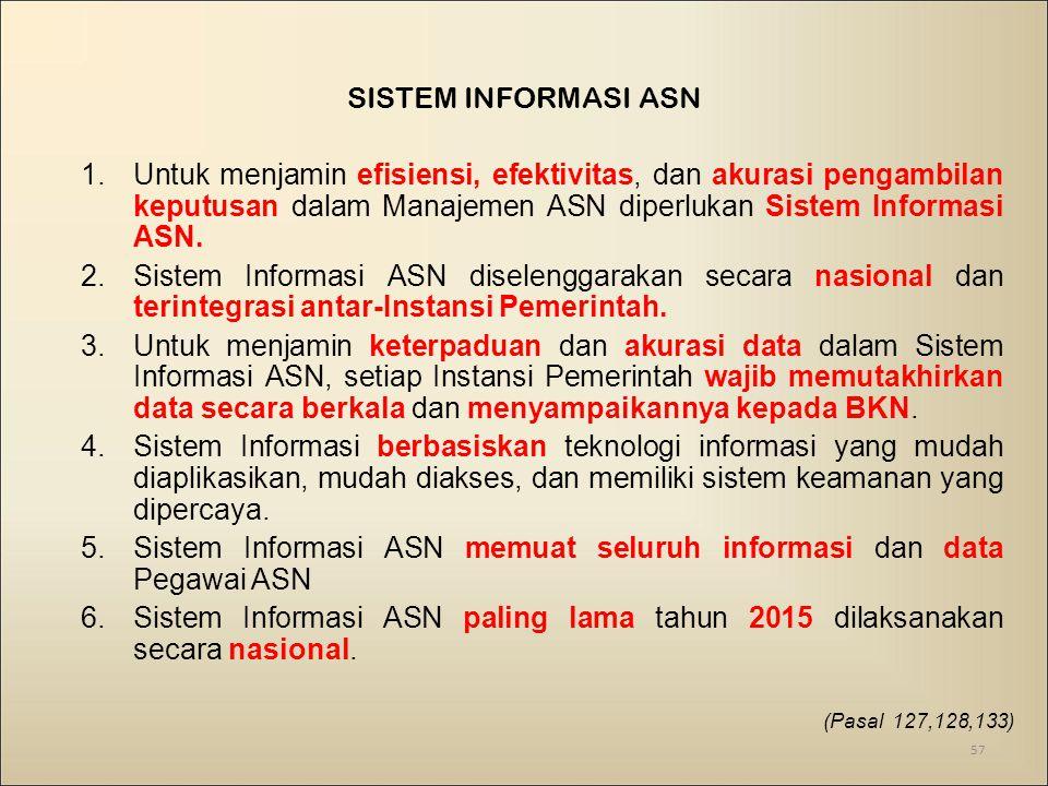 Sistem Informasi ASN memuat seluruh informasi dan data Pegawai ASN