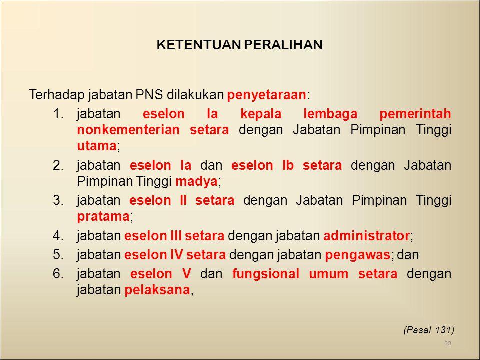 Terhadap jabatan PNS dilakukan penyetaraan: