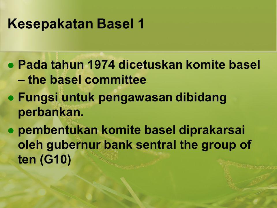 Kesepakatan Basel 1 Pada tahun 1974 dicetuskan komite basel – the basel committee. Fungsi untuk pengawasan dibidang perbankan.