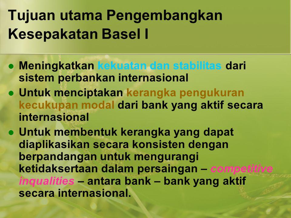 Tujuan utama Pengembangkan Kesepakatan Basel I
