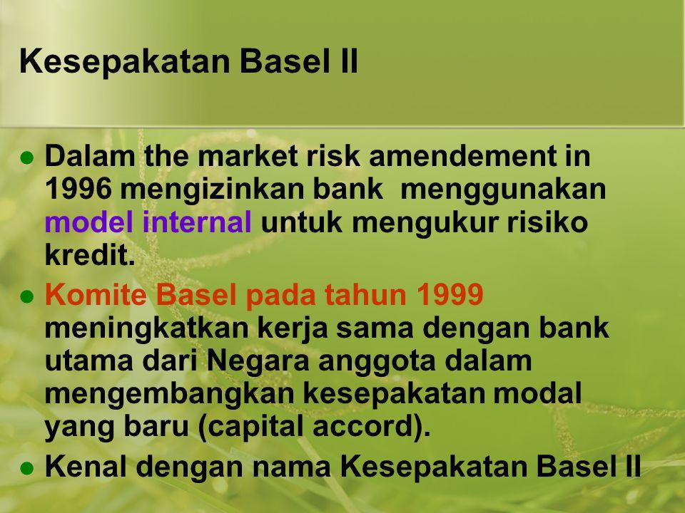 Kesepakatan Basel II Dalam the market risk amendement in 1996 mengizinkan bank menggunakan model internal untuk mengukur risiko kredit.