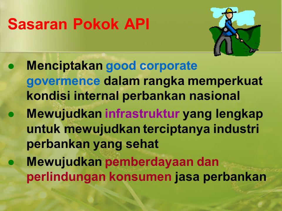 Sasaran Pokok API Menciptakan good corporate govermence dalam rangka memperkuat kondisi internal perbankan nasional.
