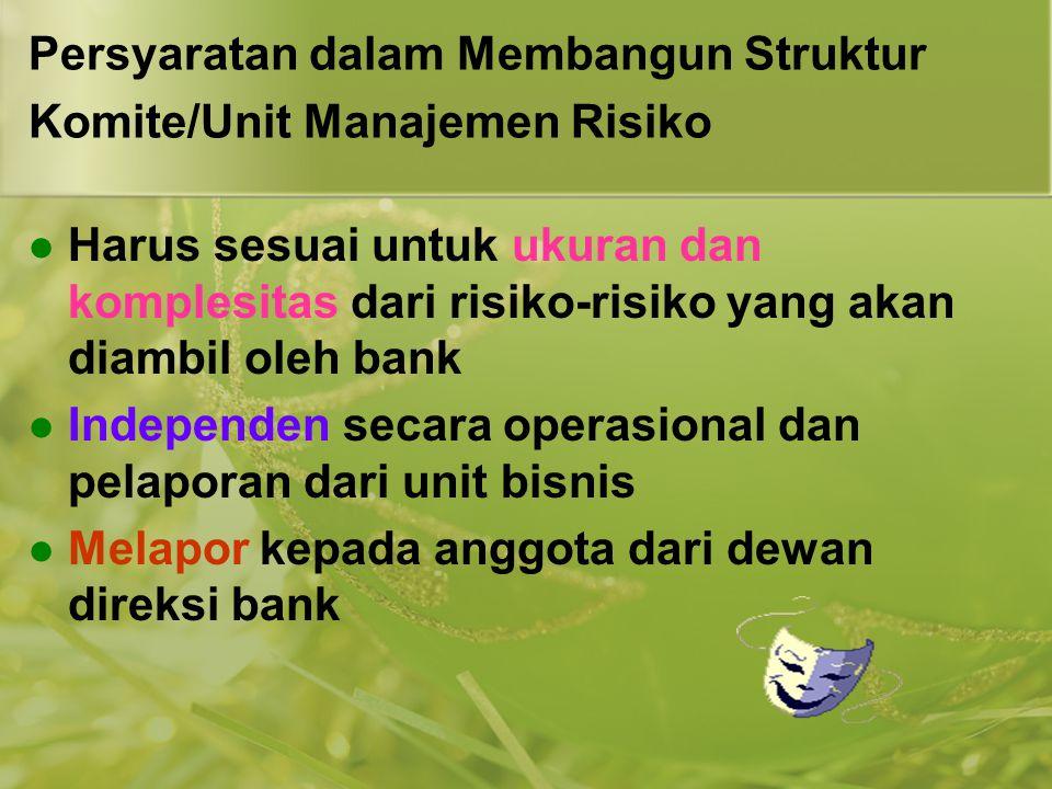 Persyaratan dalam Membangun Struktur Komite/Unit Manajemen Risiko