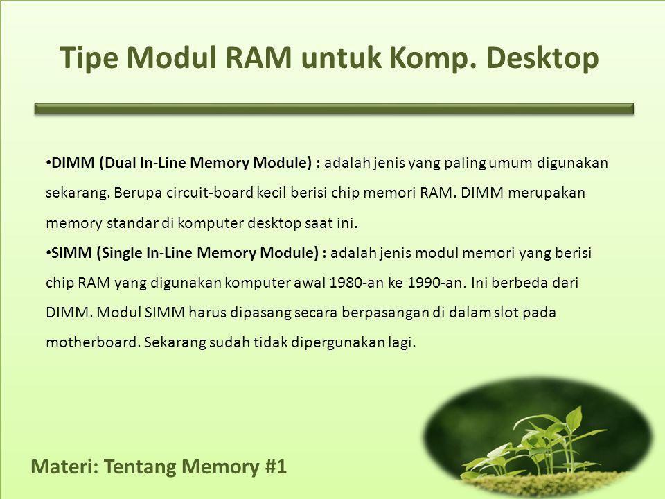 Tipe Modul RAM untuk Komp. Desktop