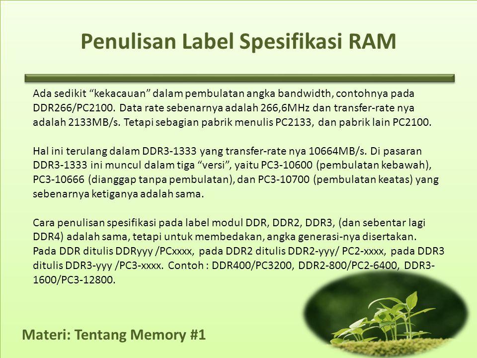 Penulisan Label Spesifikasi RAM