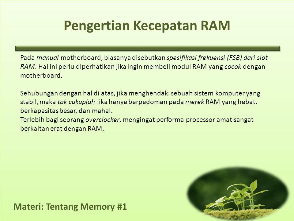 Pengertian Kecepatan RAM