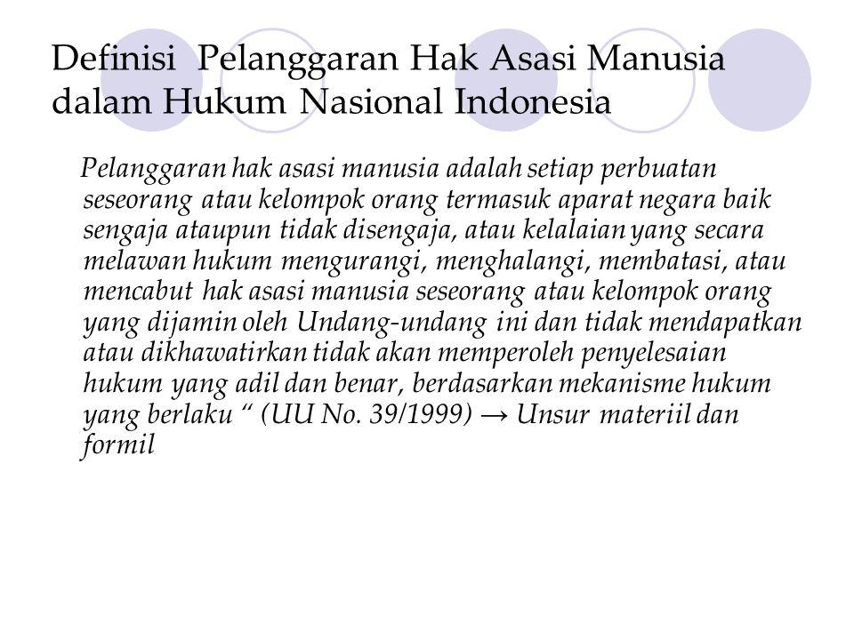 Definisi Pelanggaran Hak Asasi Manusia dalam Hukum Nasional Indonesia