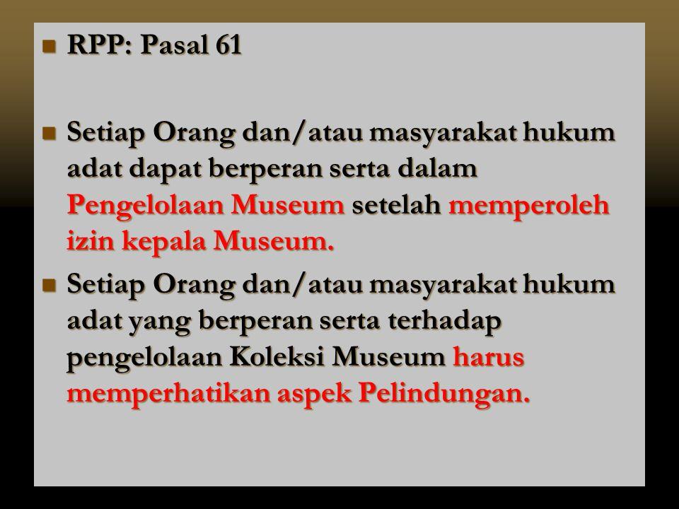 RPP: Pasal 61 Setiap Orang dan/atau masyarakat hukum adat dapat berperan serta dalam Pengelolaan Museum setelah memperoleh izin kepala Museum.