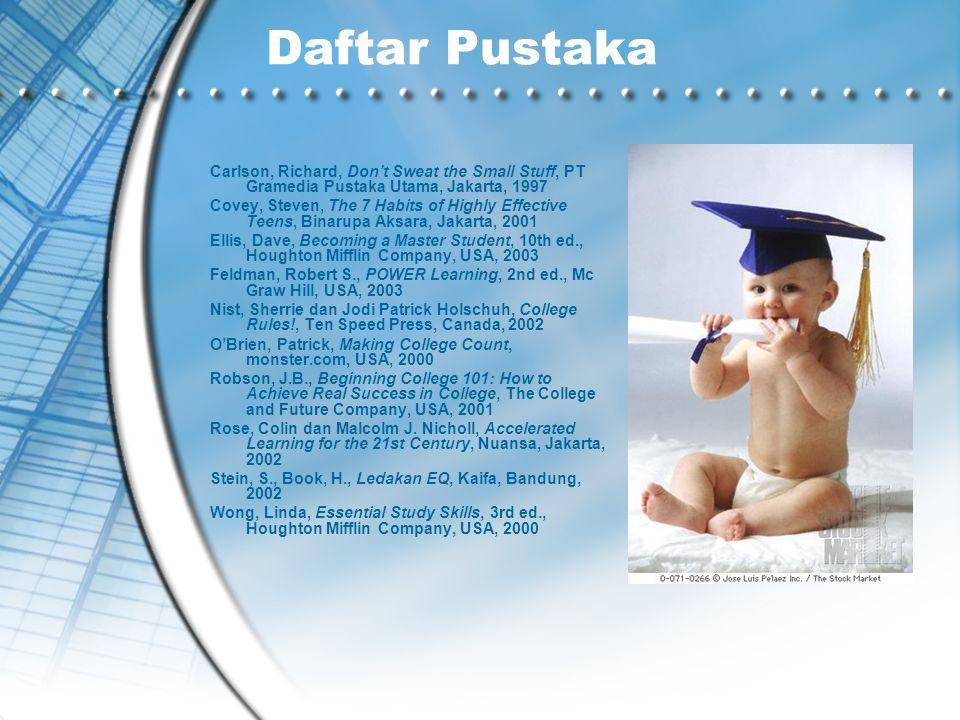 Daftar Pustaka Carlson, Richard, Don't Sweat the Small Stuff, PT Gramedia Pustaka Utama, Jakarta, 1997.
