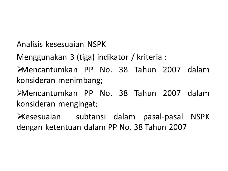 Analisis kesesuaian NSPK