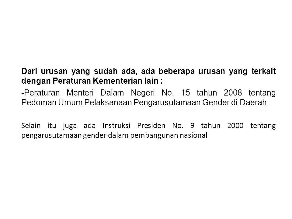Dari urusan yang sudah ada, ada beberapa urusan yang terkait dengan Peraturan Kementerian lain :