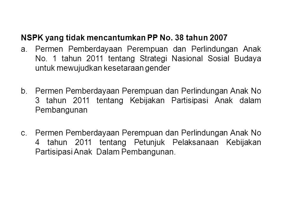 NSPK yang tidak mencantumkan PP No. 38 tahun 2007