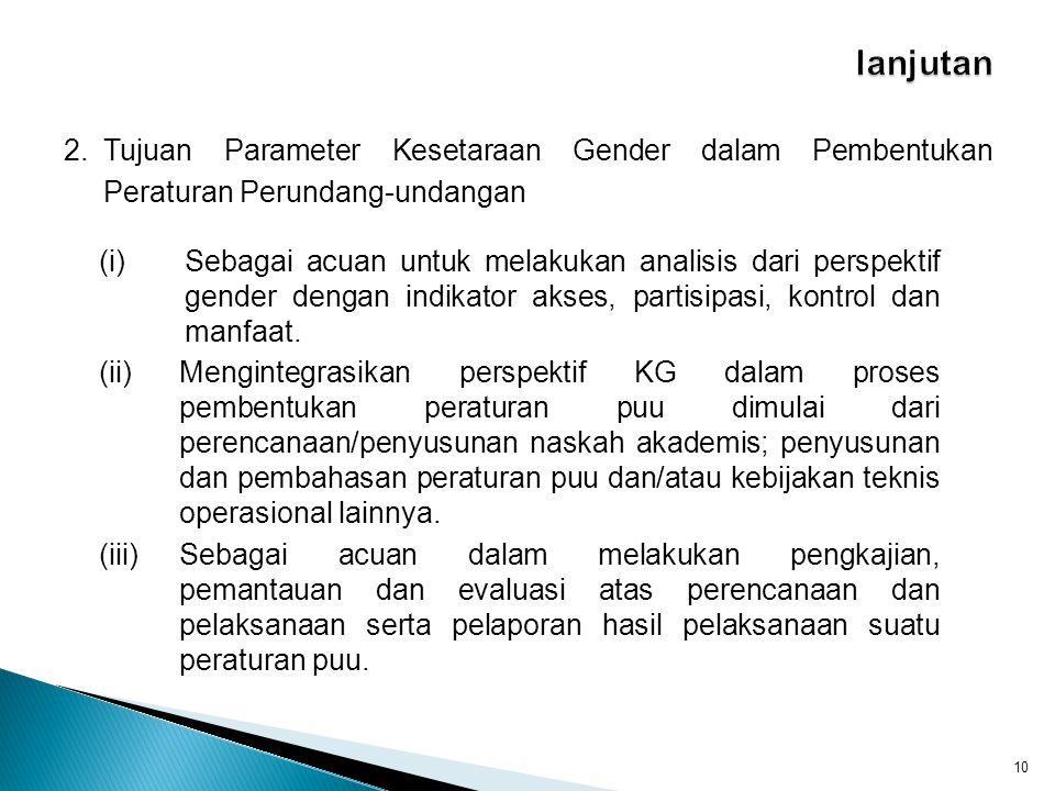 lanjutan 2. Tujuan Parameter Kesetaraan Gender dalam Pembentukan Peraturan Perundang-undangan.