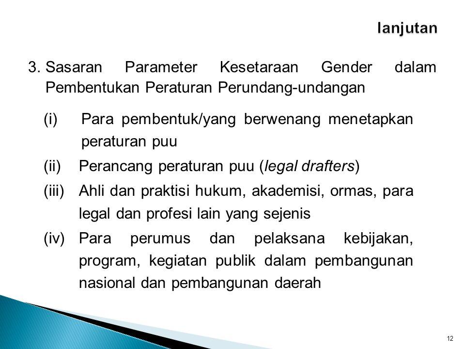 lanjutan 3. Sasaran Parameter Kesetaraan Gender dalam Pembentukan Peraturan Perundang-undangan.