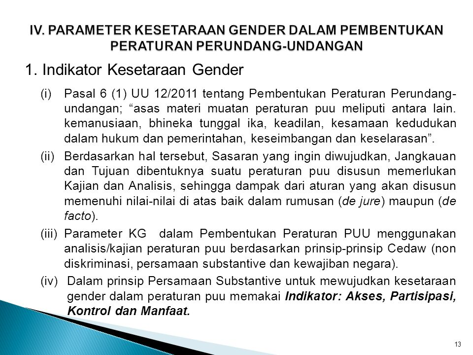 1. Indikator Kesetaraan Gender