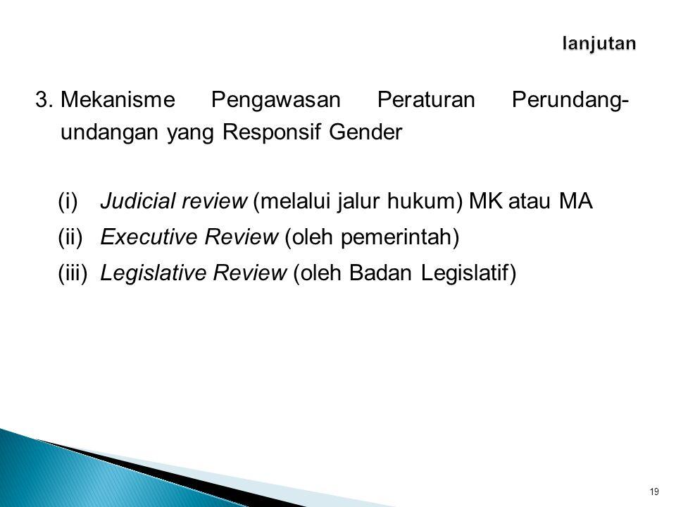 (i) Judicial review (melalui jalur hukum) MK atau MA