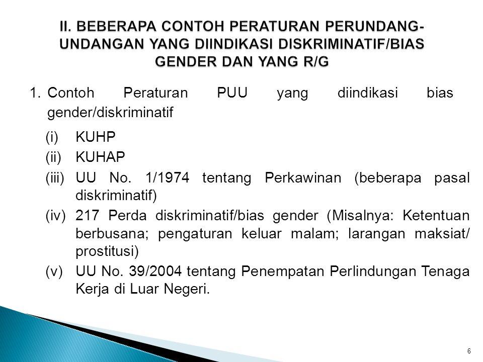 II. BEBERAPA CONTOH PERATURAN PERUNDANG-UNDANGAN YANG DIINDIKASI DISKRIMINATIF/BIAS GENDER DAN YANG R/G