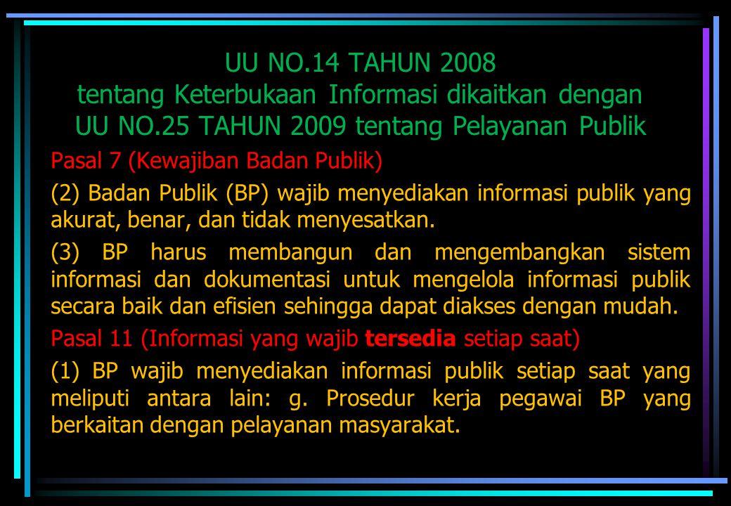 UU NO.14 TAHUN 2008 tentang Keterbukaan Informasi dikaitkan dengan UU NO.25 TAHUN 2009 tentang Pelayanan Publik