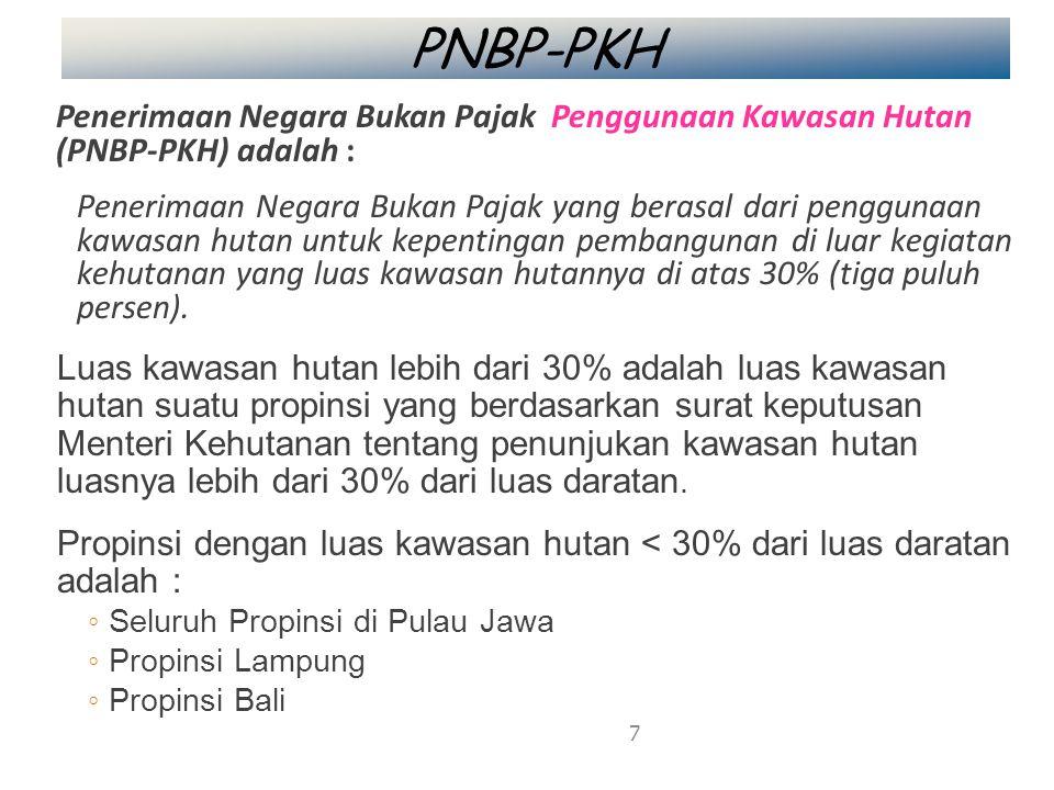 PNBP-PKH Penerimaan Negara Bukan Pajak Penggunaan Kawasan Hutan (PNBP-PKH) adalah :