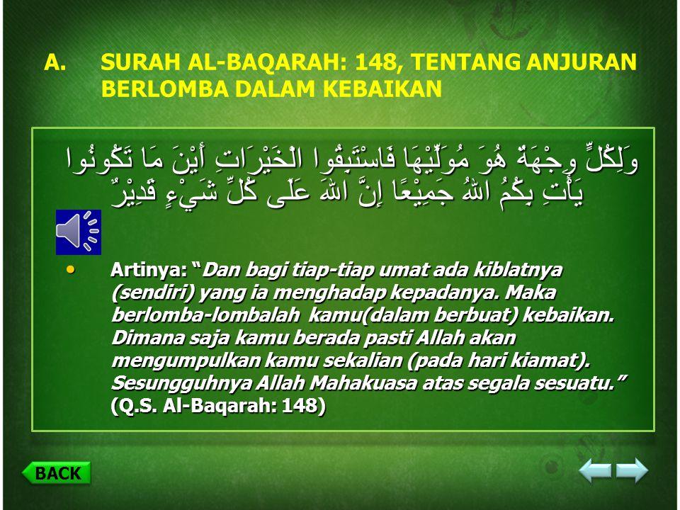SURAH AL-BAQARAH: 148, TENTANG ANJURAN BERLOMBA DALAM KEBAIKAN