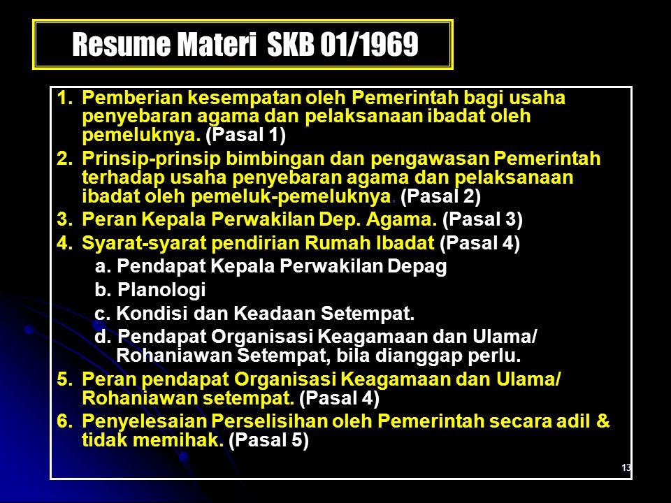 Resume Materi SKB 01/1969 1. Pemberian kesempatan oleh Pemerintah bagi usaha penyebaran agama dan pelaksanaan ibadat oleh pemeluknya. (Pasal 1)