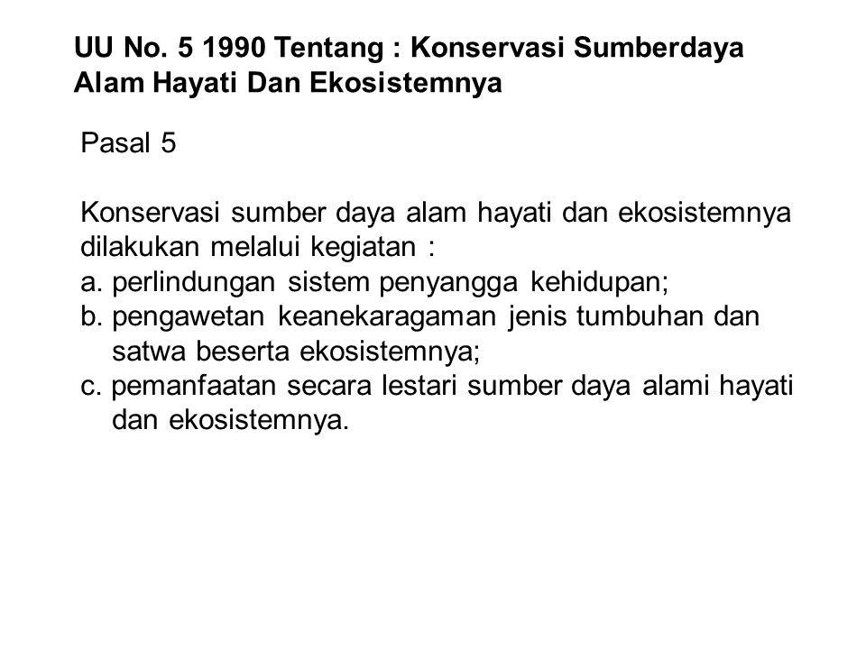 UU No. 5 1990 Tentang : Konservasi Sumberdaya Alam Hayati Dan Ekosistemnya