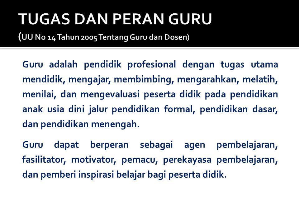 TUGAS DAN PERAN GURU (UU No 14 Tahun 2005 Tentang Guru dan Dosen)