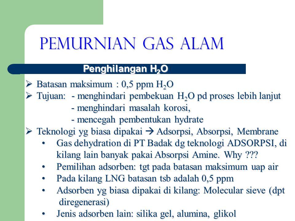 Pemurnian Gas Alam Penghilangan H2O Batasan maksimum : 0,5 ppm H2O