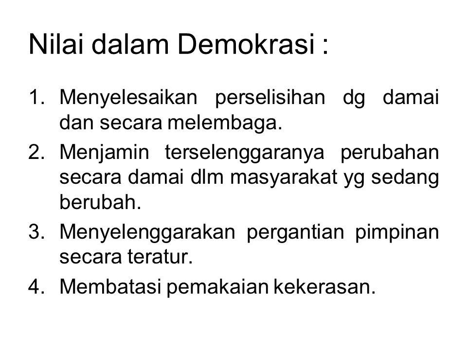 Nilai dalam Demokrasi :