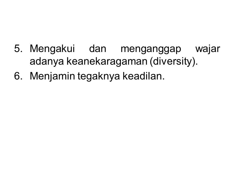 Mengakui dan menganggap wajar adanya keanekaragaman (diversity).