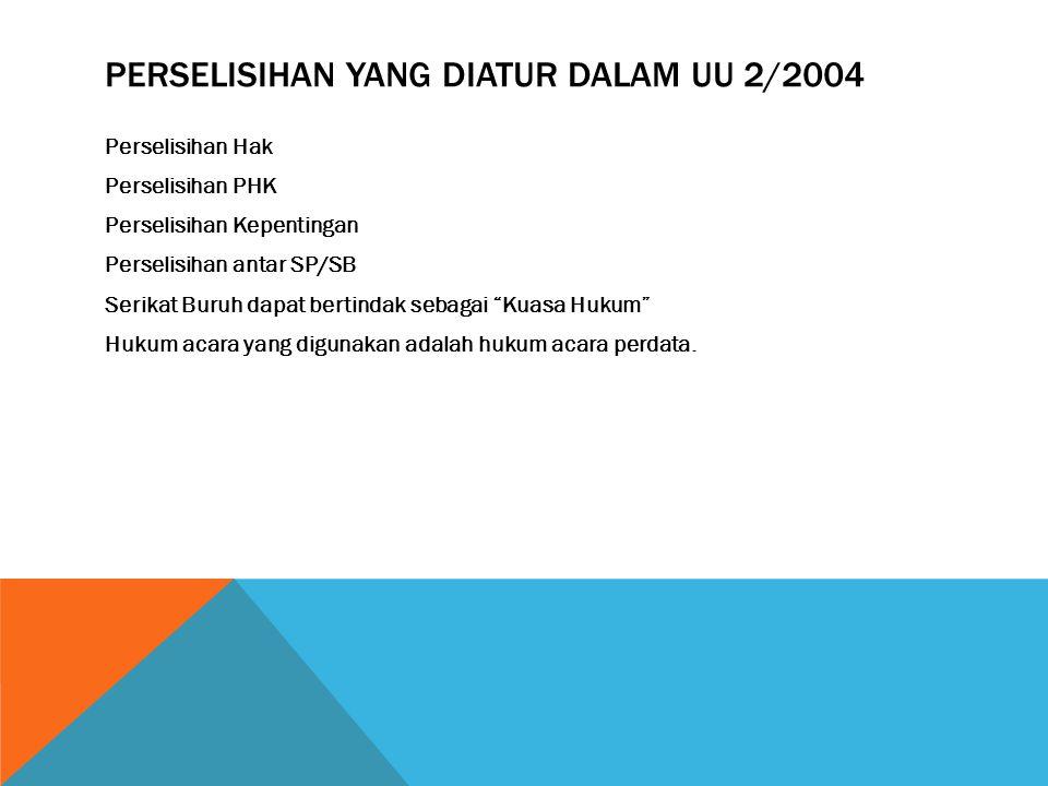 Perselisihan yang diatur dalam UU 2/2004